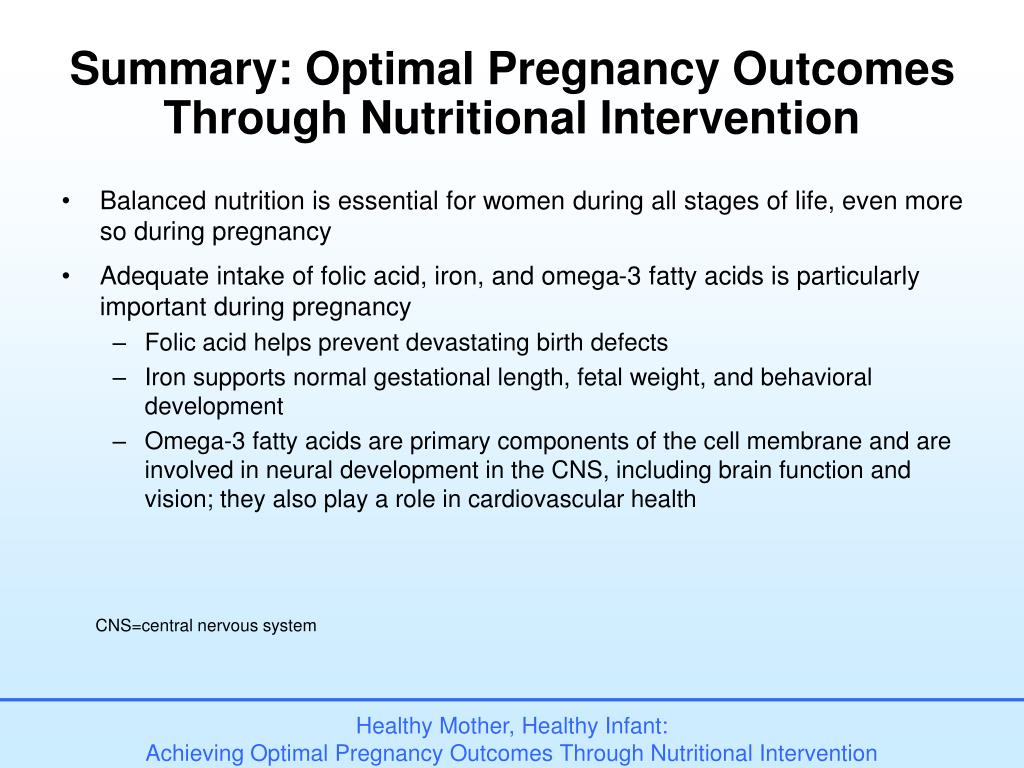 Summary: Optimal Pregnancy Outcomes