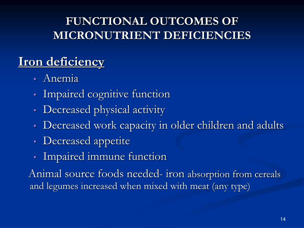 FUNCTIONAL OUTCOMES OF MICRONUTRIENT DEFICIENCIES