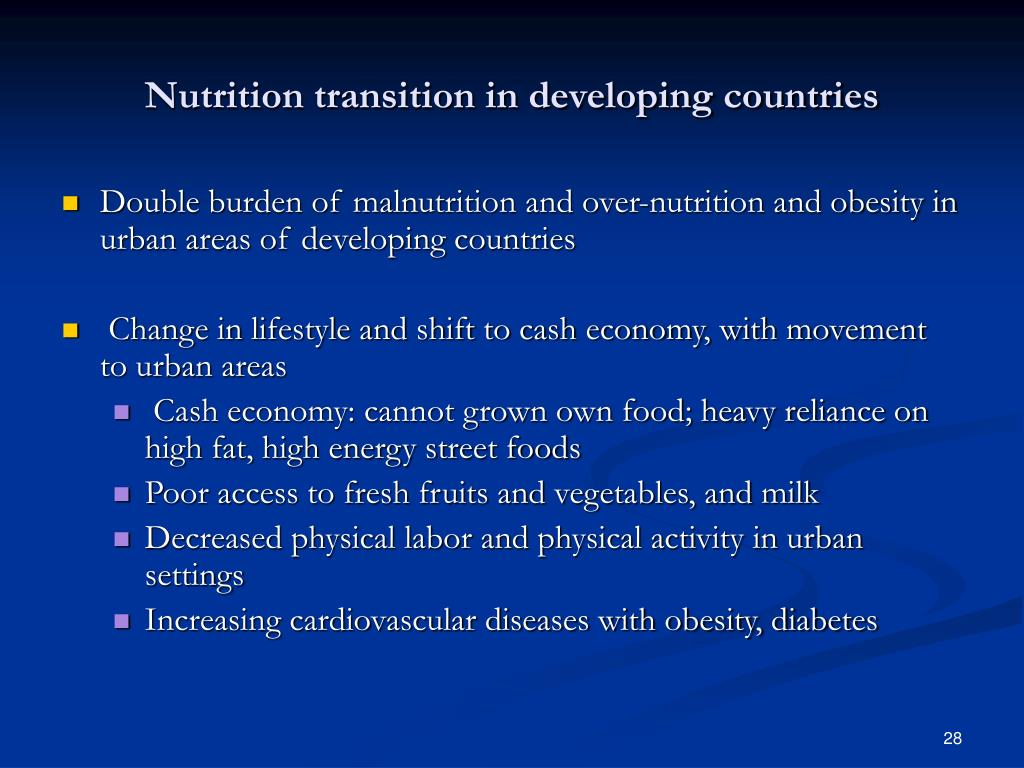 Nutrition transition in developing countries