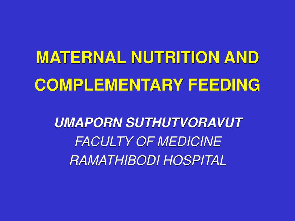 maternal nutrition and complementary feeding