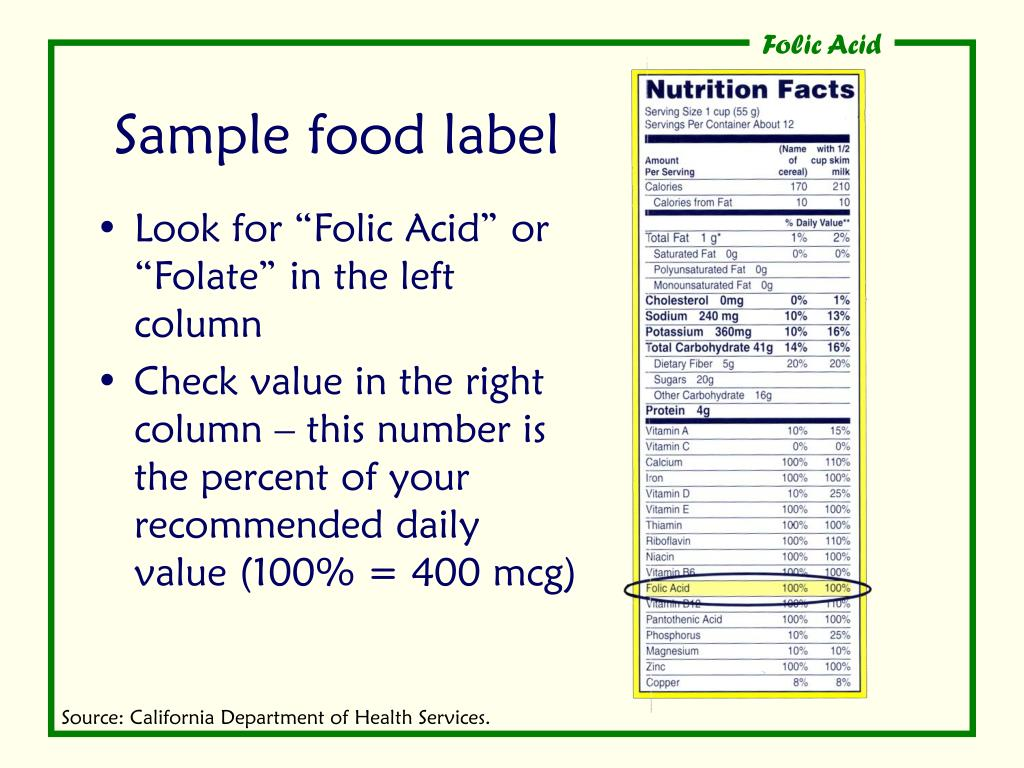 Sample food label