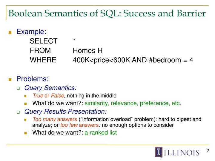 Boolean semantics of sql success and barrier