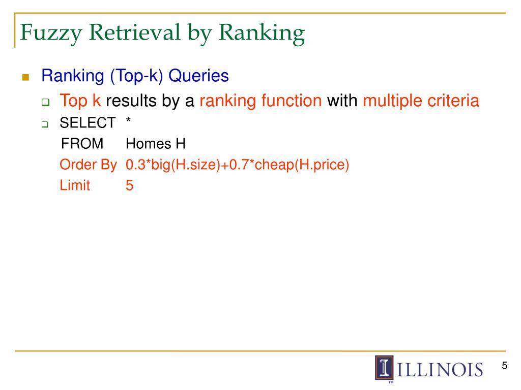 Fuzzy Retrieval by Ranking