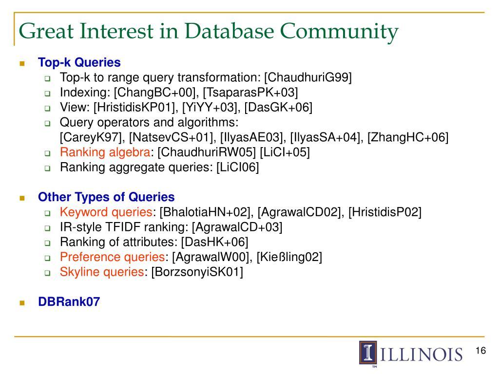Great Interest in Database Community