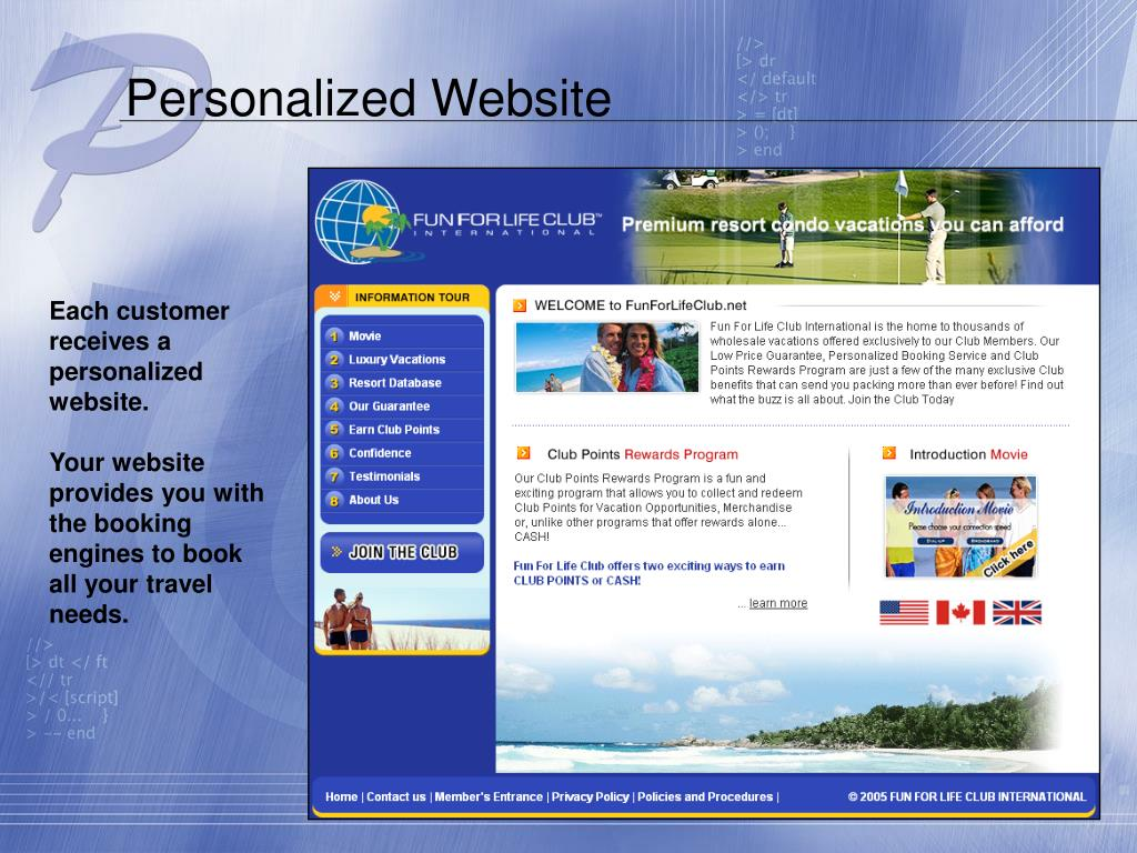 Personalized Website