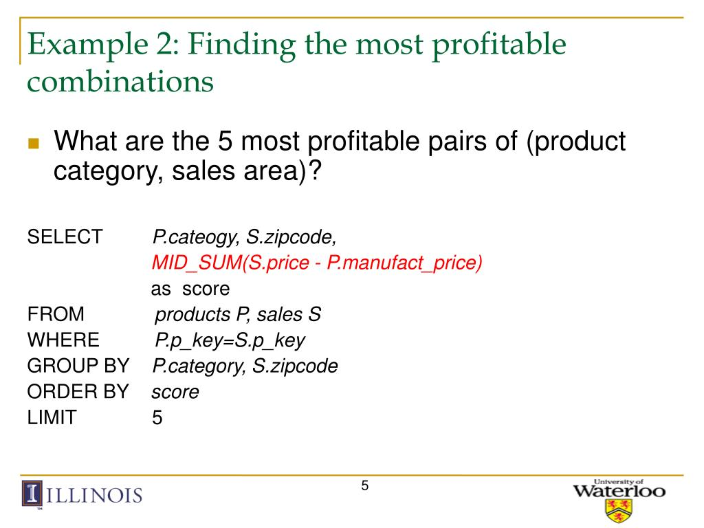 Example 2: Finding the most profitable combinations