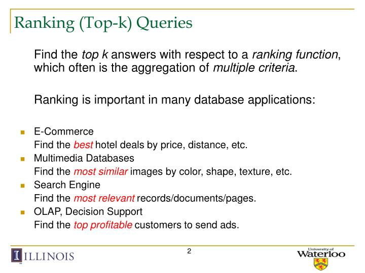 Ranking top k queries