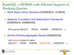 ranksql a rdbms with efficient support of ranking queries