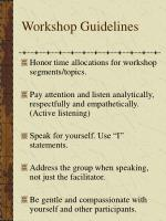 workshop guidelines