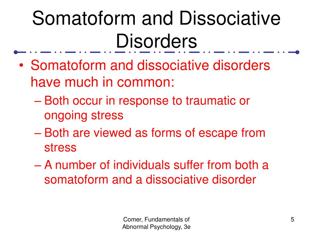 Somatoform and Dissociative Disorders
