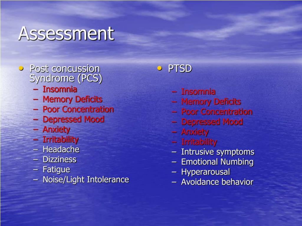 Post concussion Syndrome (PCS)