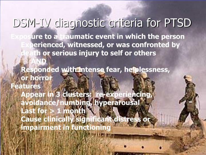 Dsm iv diagnostic criteria for ptsd