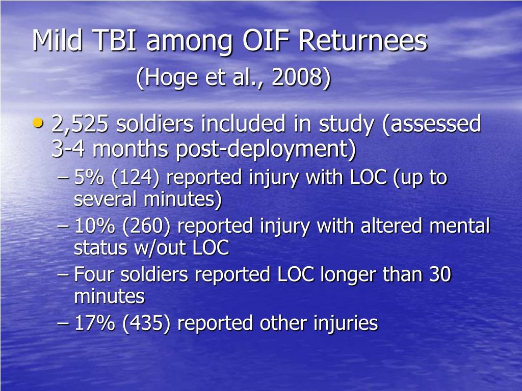 Mild TBI among OIF Returnees