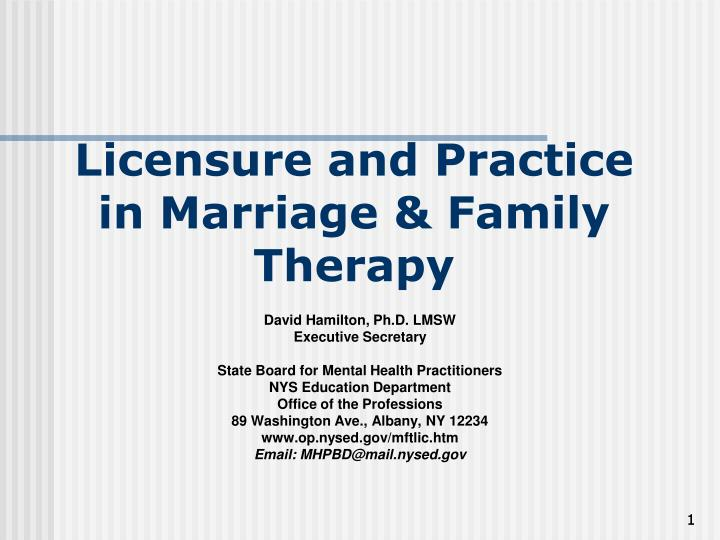 Licensure and practice in marriage family therapy