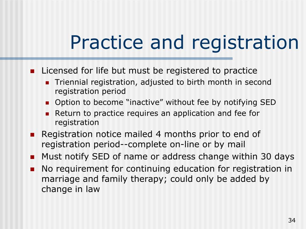 Practice and registration