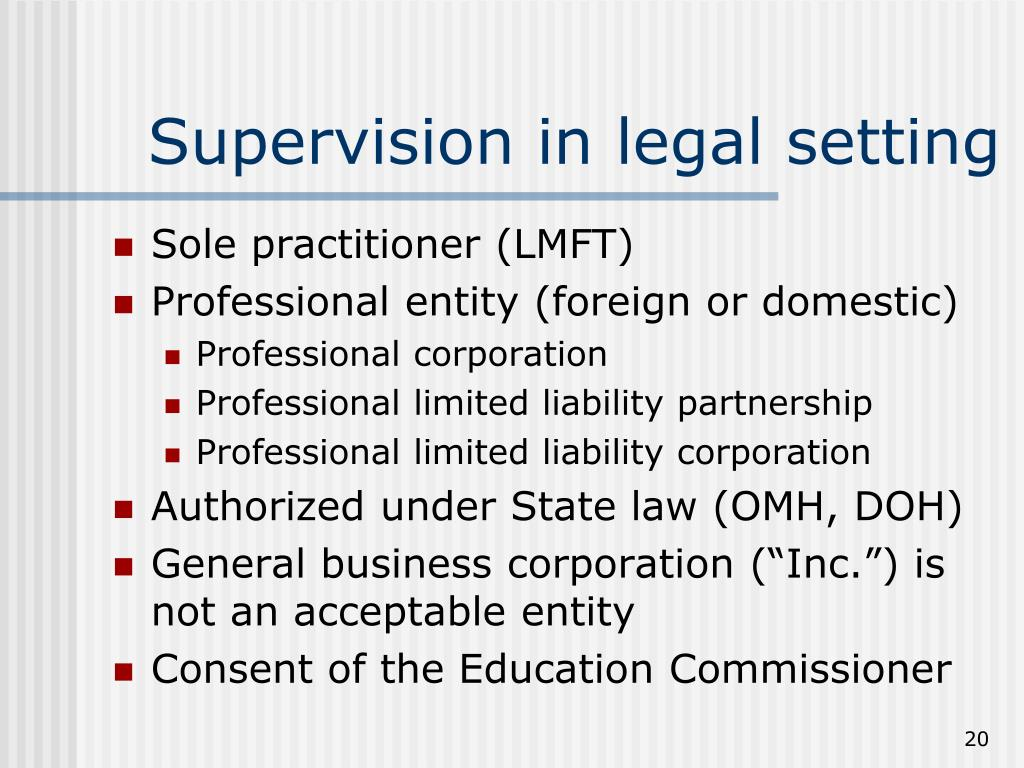 Supervision in legal setting