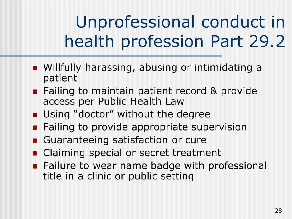 Unprofessional conduct in health profession Part 29.2