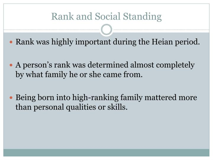 Rank and Social Standing