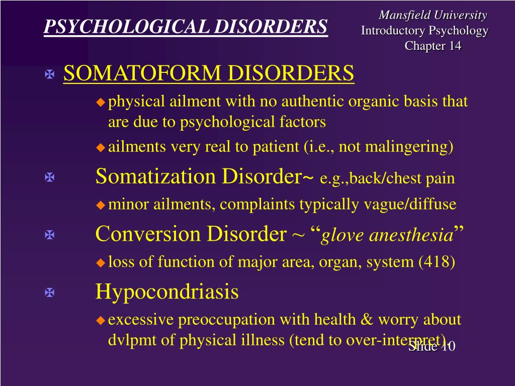 psychological disorders presentation