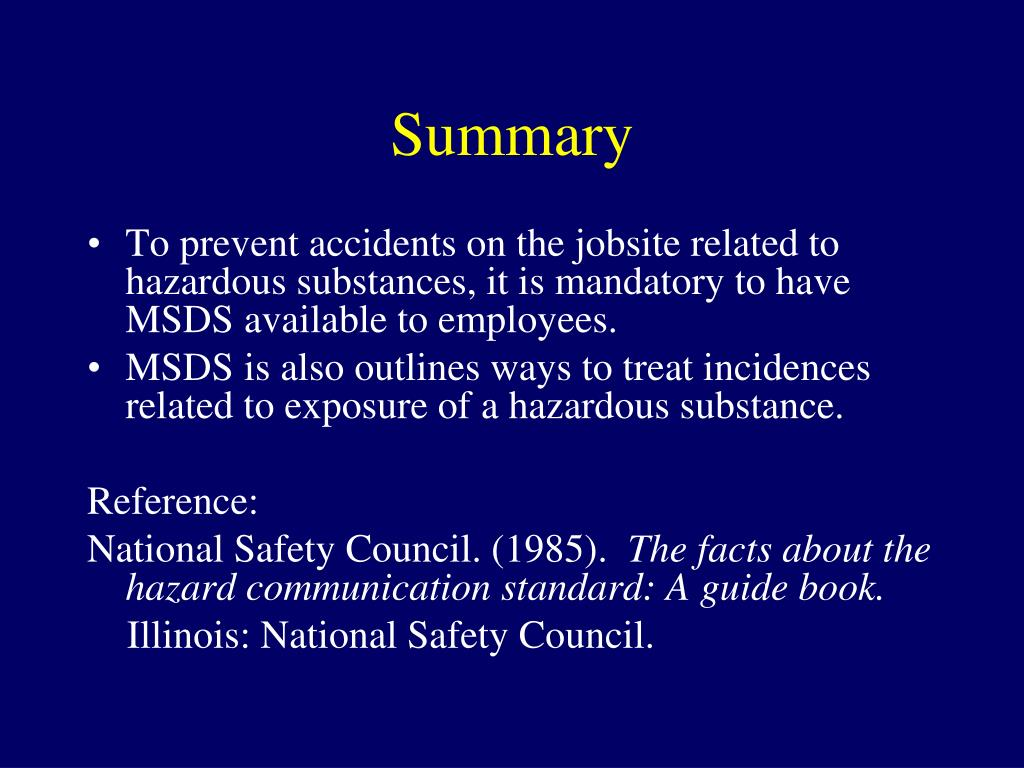 Ppt Material Safety Data Sheets Msds Powerpoint