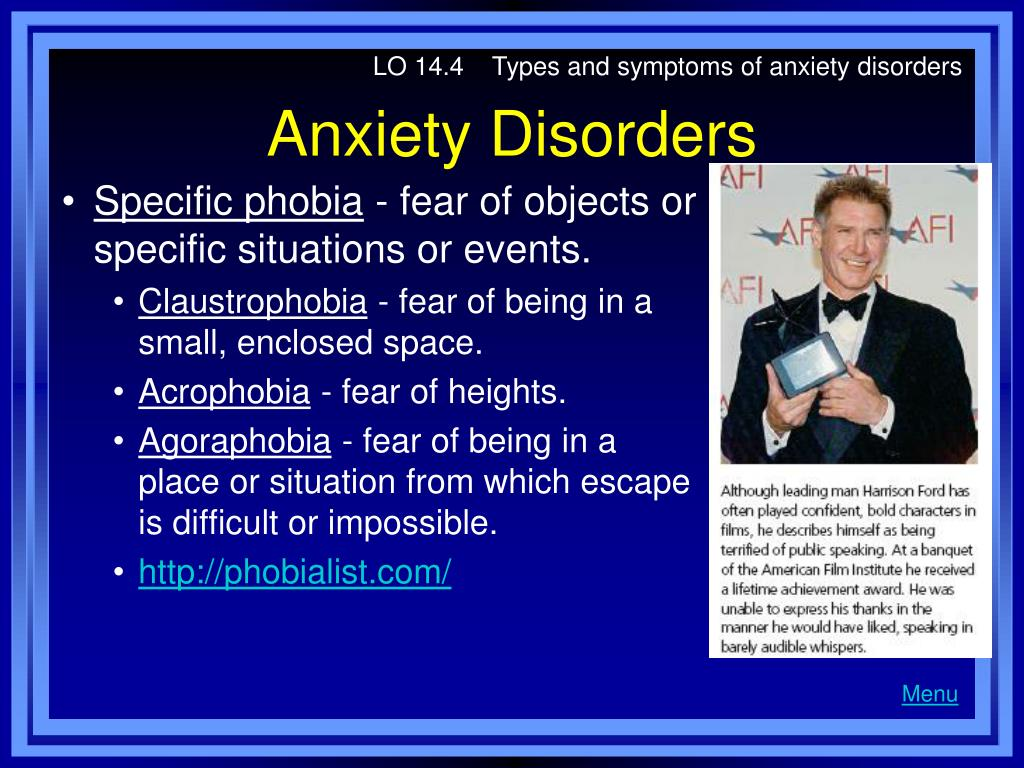 LO 14.4    Types and symptoms of anxiety disorders