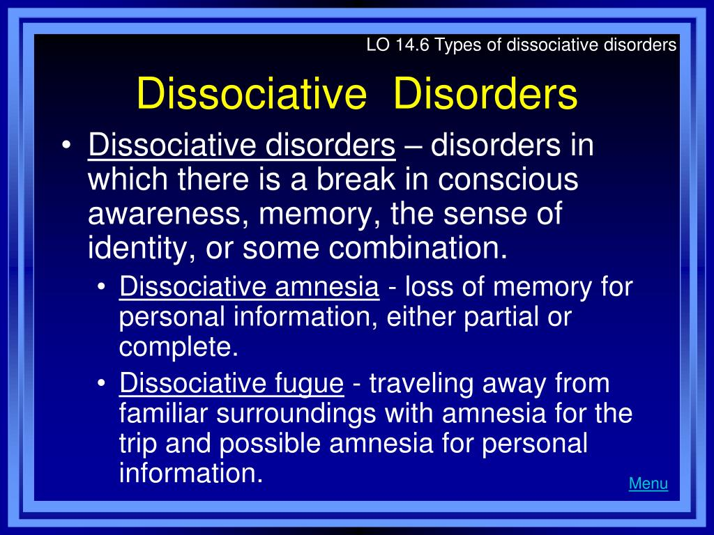 LO 14.6 Types of dissociative disorders