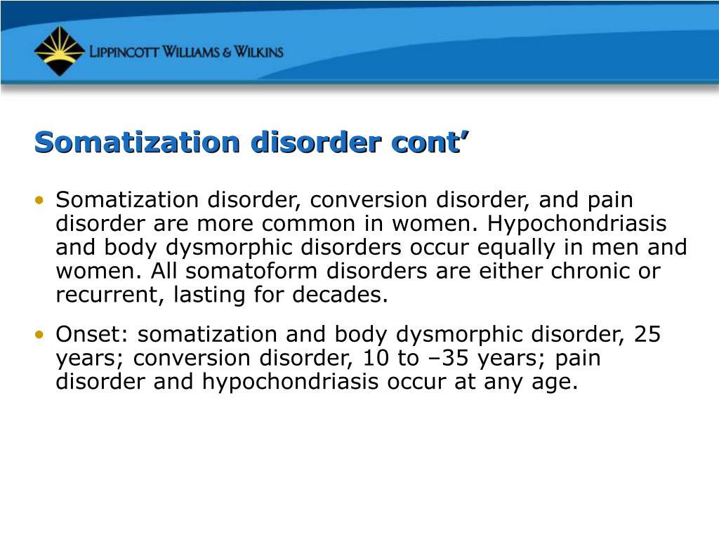 Somatization disorder cont'