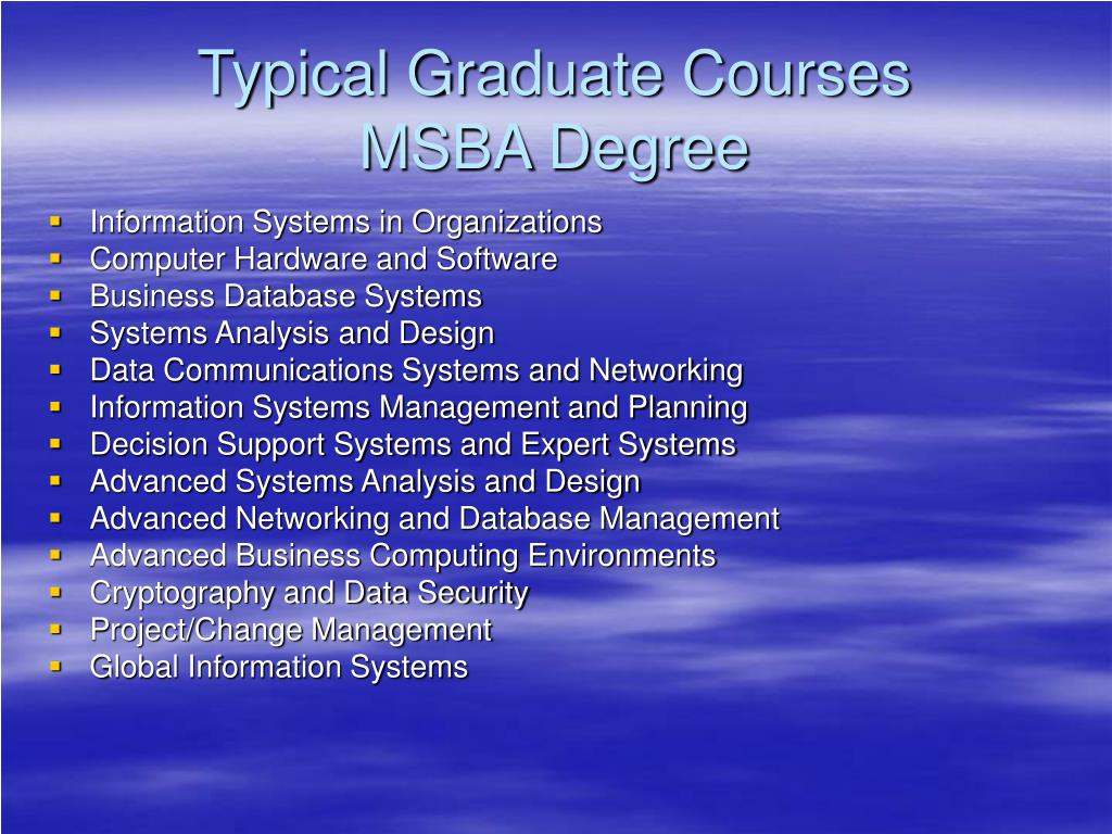 Typical Graduate Courses