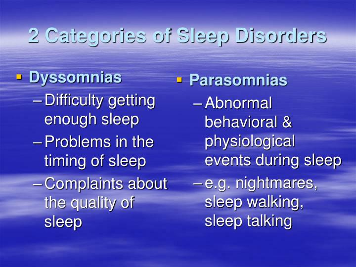 the three categories of sleeping disorders Blog blog fusionsleep please browse our topics for the latest news regarding sleep disorders, treatments, research getting the body you want is a three.
