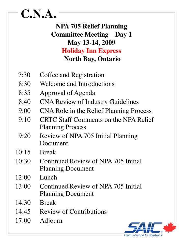 NPA 705 Relief Planning