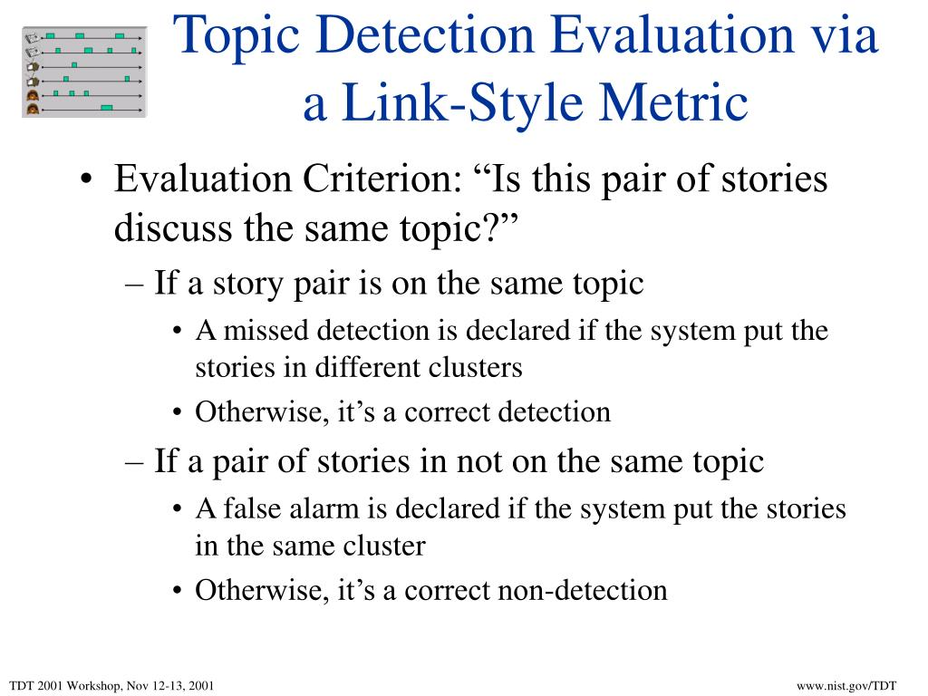 Topic Detection Evaluation via a Link-Style Metric