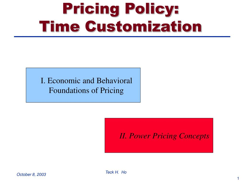 pricing policy time customization l.