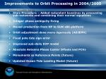 improvements to orbit processing in 2004 2005