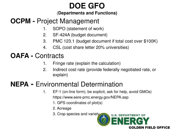 Doe gfo departments and functions
