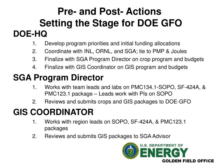 Pre and post actions setting the stage for doe gfo