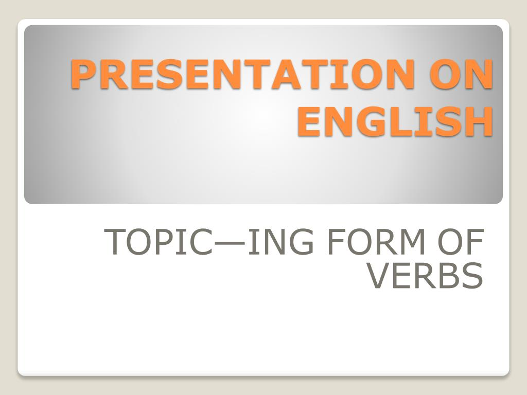 presentation on english l.