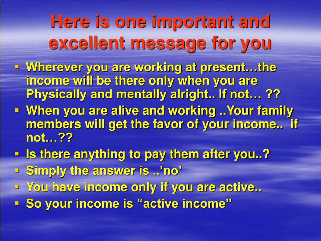 Here is one important and excellent message for you