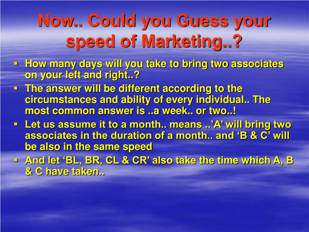 Now.. Could you Guess your speed of Marketing..?