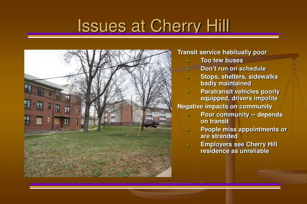 Issues at Cherry Hill