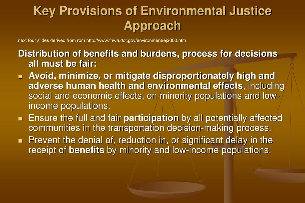 Key Provisions of Environmental Justice Approach