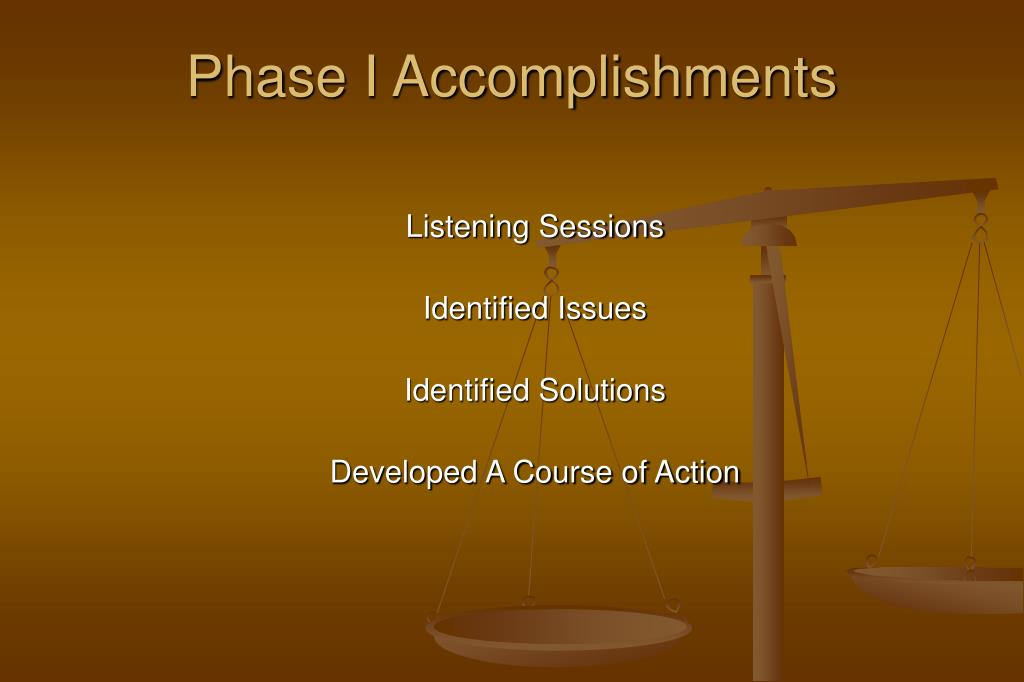 Phase I Accomplishments