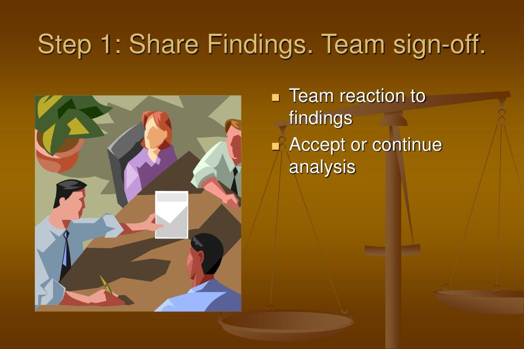 Step 1: Share Findings. Team sign-off.