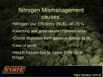 nitrogen mismanagement causes