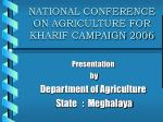 national conference on agriculture for kharif campaign 2006