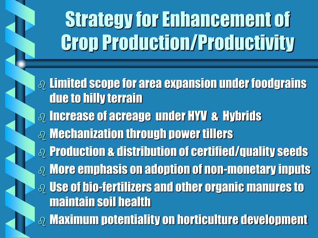 Strategy for Enhancement of Crop Production/Productivity