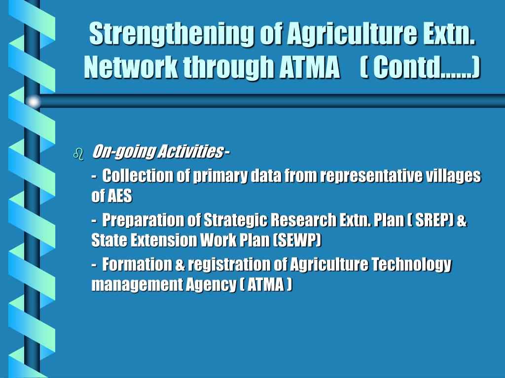 Strengthening of Agriculture Extn. Network through ATMA    ( Contd……)