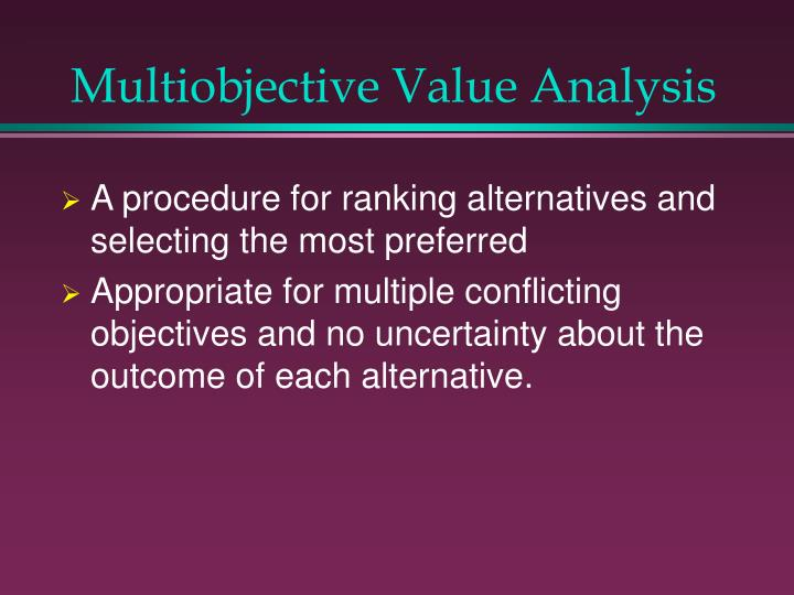 Multiobjective value analysis2