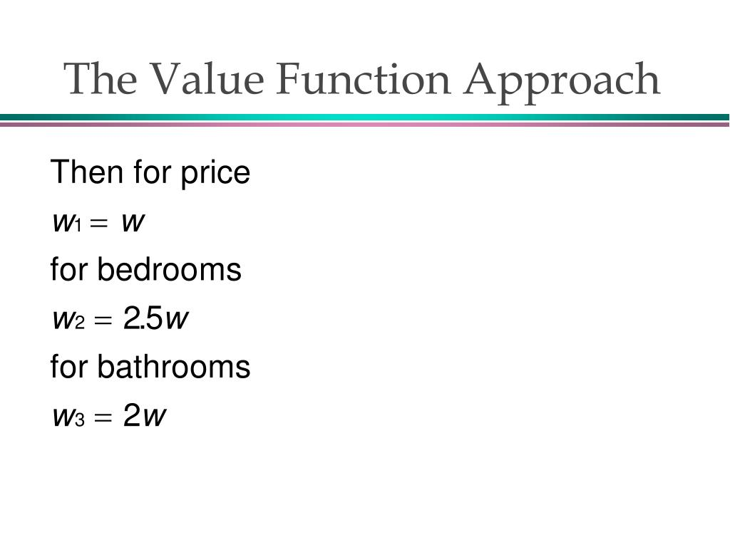 The Value Function Approach