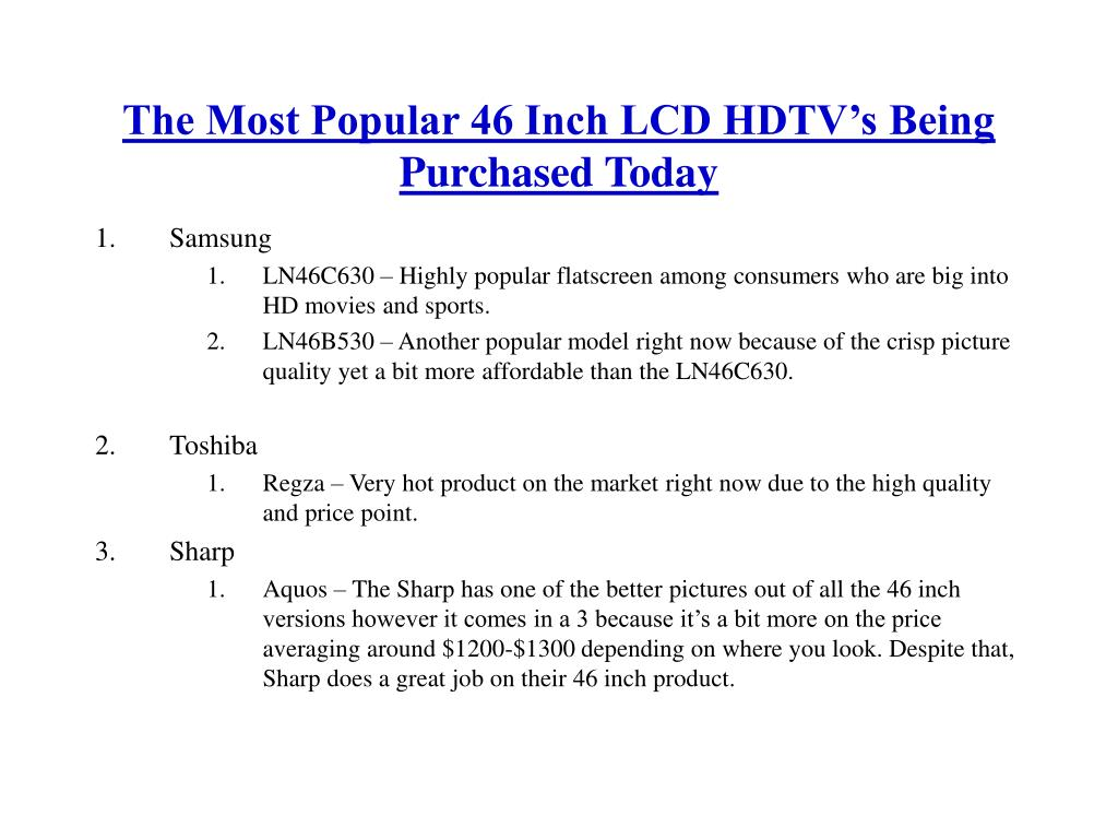 The Most Popular 46 Inch LCD HDTV's Being Purchased Today