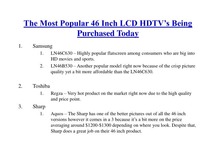 The most popular 46 inch lcd hdtv s being purchased today